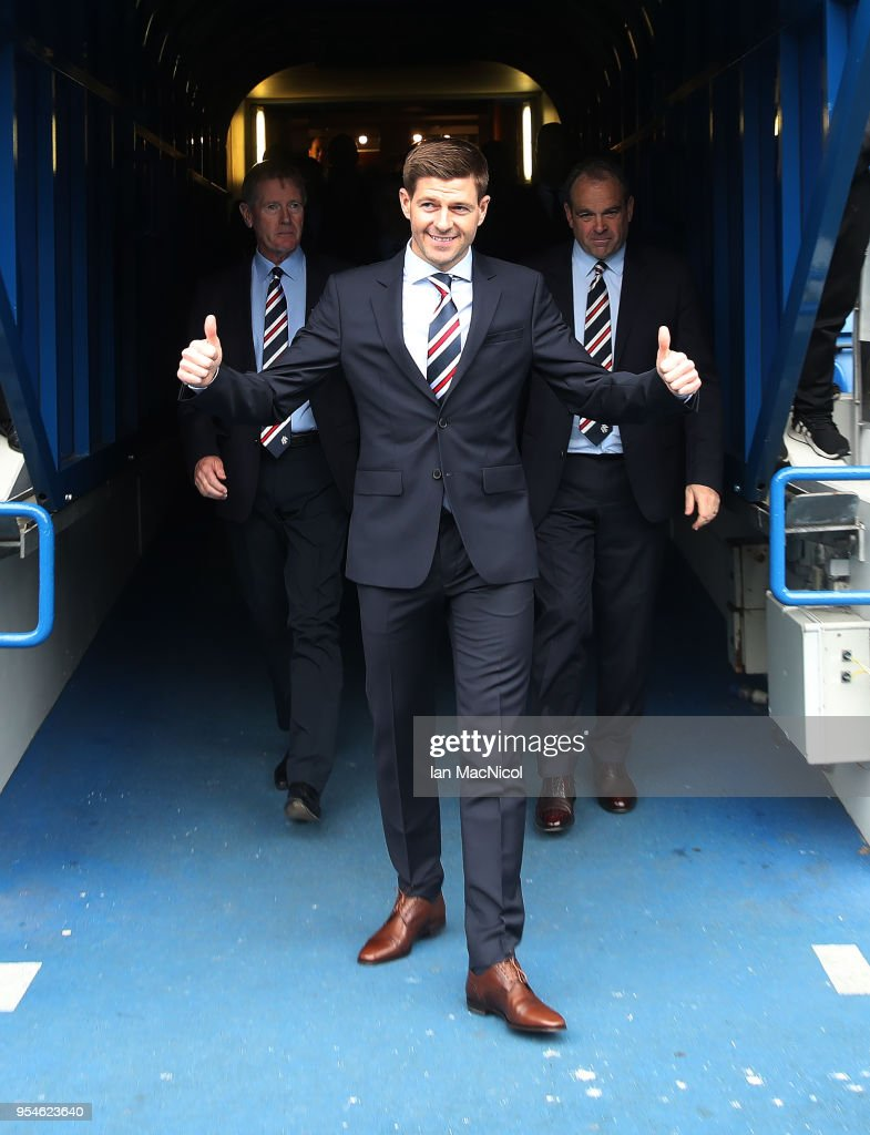 Steven Gerrard is unveiled as the new manager of Rangers football Club at Ibrox Stadium on May 4, 2018 in Glasgow, Scotland.