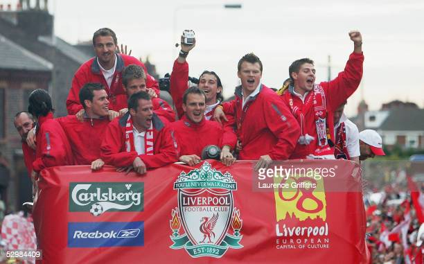 Steven Gerrard leads the celebrations with Steve Finnan Jerzy Dudek Igor Biscan Jamie Carragher Dietmar Hamman and John Arne Riise during the...