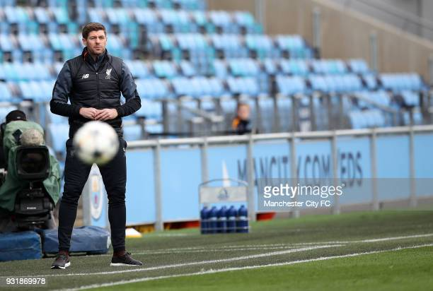 Steven Gerrard Liverpool coach during UEFA Youth League QuarterFinal at Manchester City Football Academy on March 14 2018 in Manchester England