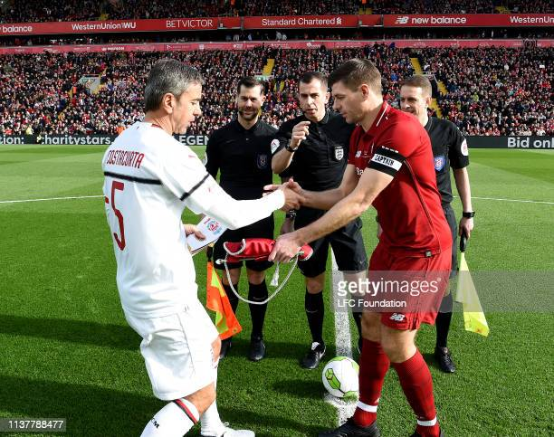 Steven Gerrard Liverpool FC Legends with Alessandro Costacurta of Milan Glorie before the friendly match between of Liverpool FC Legends and AC Milan...