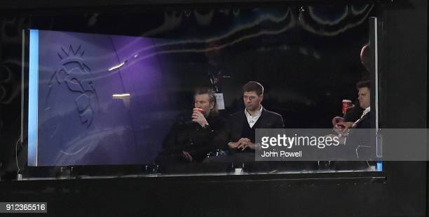 Steven Gerrard Looks On From THe Comentery Box during the Premier League match between Huddersfield Town and Liverpool at John Smith's Stadium on...