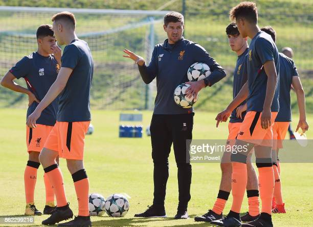 Steven Gerrard manager of Liverpool before the UEFA Youth League group E match between NK Maribor and Liverpool FC at on October 17 2017 in Maribor...