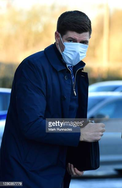 Steven Gerrard, manager of Rangers arrives ahead of the Ladbrokes Scottish Premiership match between St.Mirren and Rangers at The Simple Digital...