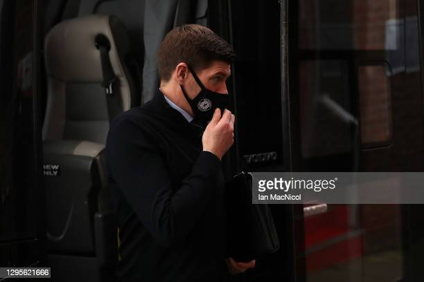 Steven Gerrard, Manager of Rangers arrives ahead of the Ladbrokes Scottish Premiership match between Aberdeen and Rangers at Pittodrie Stadium on...