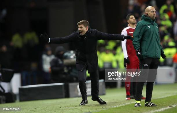 Steven Gerrard Manager of Rangers FC celebrates during the UEFA Europa League round of 32 first leg match between Rangers FC and Sporting Braga at...