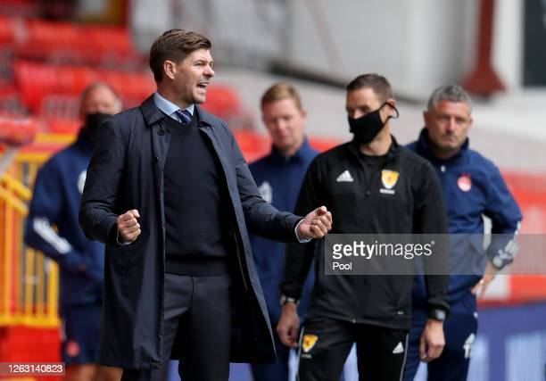 Steven Gerrard, Manager of Rangers FC celebrates victory after the Ladbrokes Premiership match between Aberdeen and Rangers at Pittodrie Stadium on...