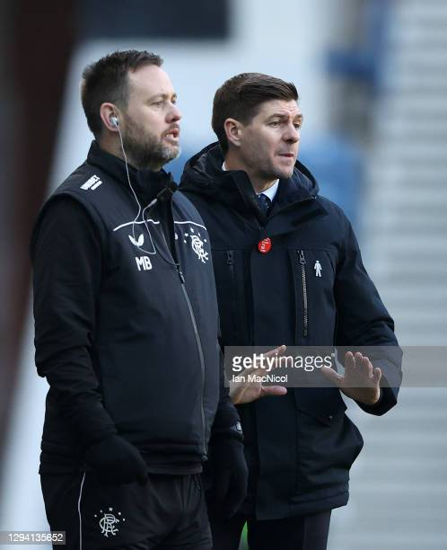 Steven Gerrard, Manager of Rangers gives his team instructions during the Ladbrokes Scottish Premiership match between Rangers and Celtic at Ibrox...