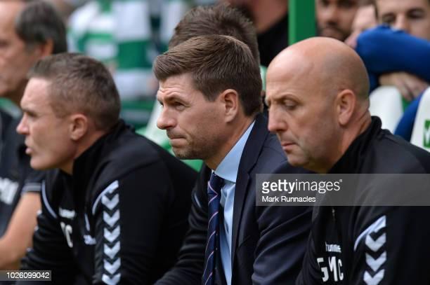 Steven Gerrard Manager of Rangers looks on during the Scottish Premier League match between Celtic and Rangers at Celtic Park Stadium on September 2...