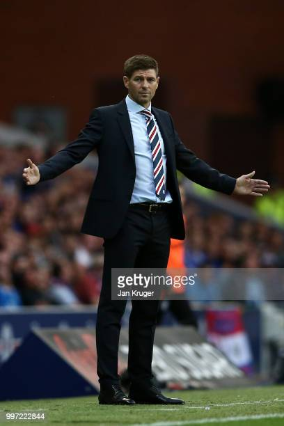 Steven Gerrard manager of Rangers looks on during the UEFA Europa League Qualifying Round match between Rangers and Shkupi at Ibrox Stadium on July...