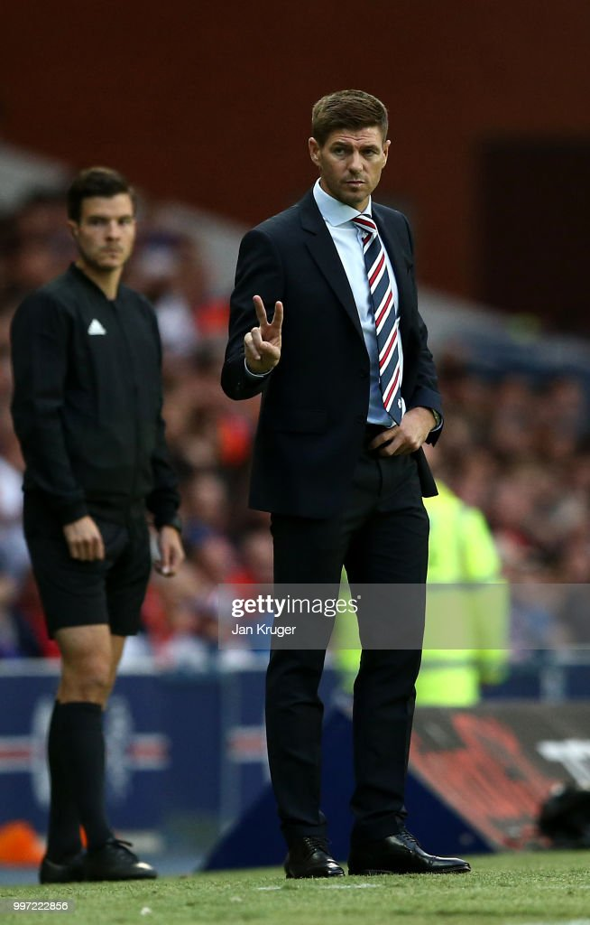 Steven Gerrard manager of Rangers looks on during the UEFA Europa League Qualifying Round match between Rangers and Shkupi at Ibrox Stadium on July 12, 2018 in Glasgow, Scotland.