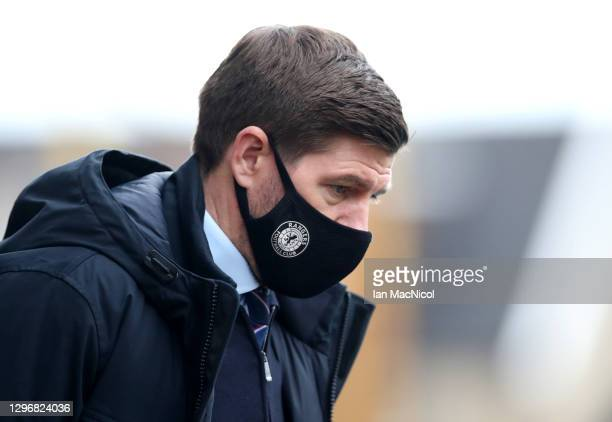 Steven Gerrard, Manager of Rangers looks on prior to the Ladbrokes Scottish Premiership match between Motherwell and Rangers at Fir Park on January...