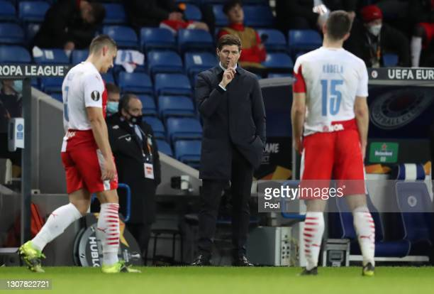 Steven Gerrard, Manager of Rangers reacts during the UEFA Europa League Round of 16 Second Leg match between Rangers and Slavia Praha at Ibrox...