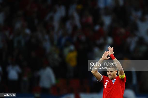 Steven Gerrard of England applauds the travelling support during the 2010 FIFA World Cup South Africa Group C match between Slovenia and England at...