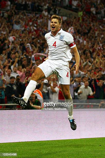 Steven Gerrard of England celebrates after scoring his team's second goal during the International Friendly match between England and Hungary at...