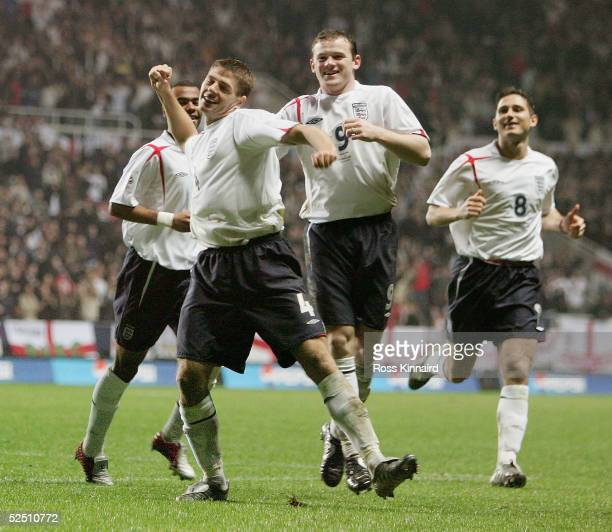 Steven Gerrard of England celebrates after scoring the opening goal during the England v Azerbaijan 2006 World Cup Qualifying match at St James' Park...