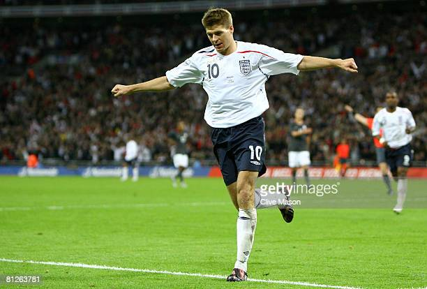 Steven Gerrard of England celebrates as he scores the second goal during the international friendly match between England and the USA at Wembley...