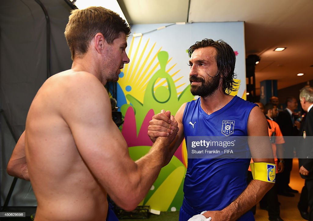 Steven Gerrard of England (L) congratualates Andrea Pirlo of Italy after the 2014 FIFA World Cup Brazil Group D match between England and Italy at Arena Amazonia on June 14, 2014 in Manaus, Brazil.