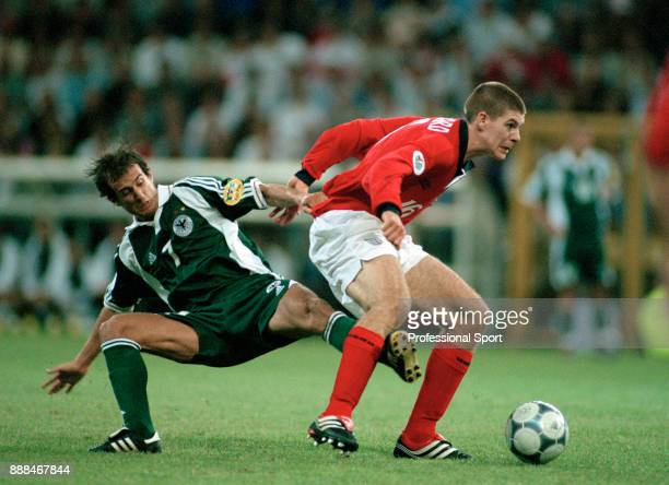 Steven Gerrard of England gets away from Mehmet Scholl of Germany during a UEFA Euro 2000 group match at the Stade du Pays de Charleroi on June 17...