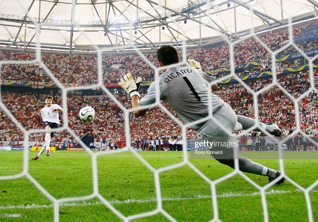 Steven Gerrard of England has his penalty saved by Ricardo of Portugal in a penalty shootout during the FIFA World Cup Germany 2006 Quarter-final match between England and Portugal played at the Stadium Gelsenkirchen on July 1, 2006 in Gelsenkirchen, Germany.