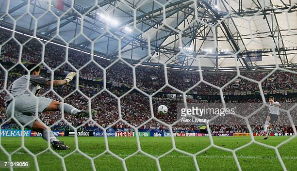 Steven Gerrard of England has his penalty saved by Ricardo of Portugal in a penalty shootout during the FIFA World Cup Germany 2006 Quarter-final...