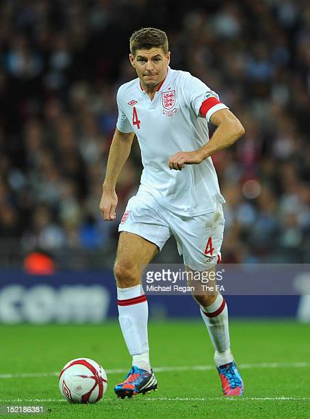 Steven Gerrard of England in action during the FIFA 2014 World Cup qualifier group H match between England and Ukraine at Wembley Stadium on...