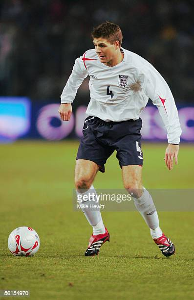 Steven Gerrard of England in action during the International friendly match between England and Argentina at the Stade de Geneve on November 12 2005...