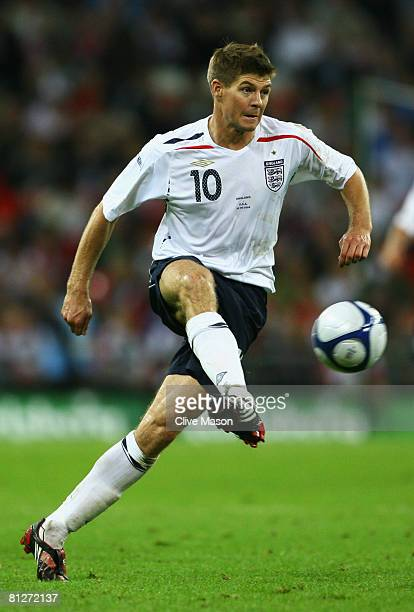 Steven Gerrard of England in action during the international friendly match between England and the USA at Wembley Stadium on May 28, 2008 in London,...