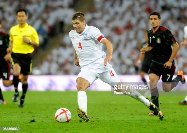 Steven Gerrard of England in action during the International Friendly match between England and Mexico at Wembley Stadium in London on May 24 2010