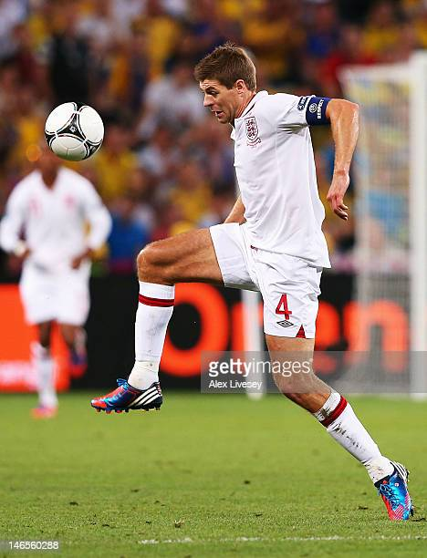 Steven Gerrard of England in action during the UEFA EURO 2012 group D match between England and Ukraine at Donbass Arena on June 19 2012 in Donetsk...