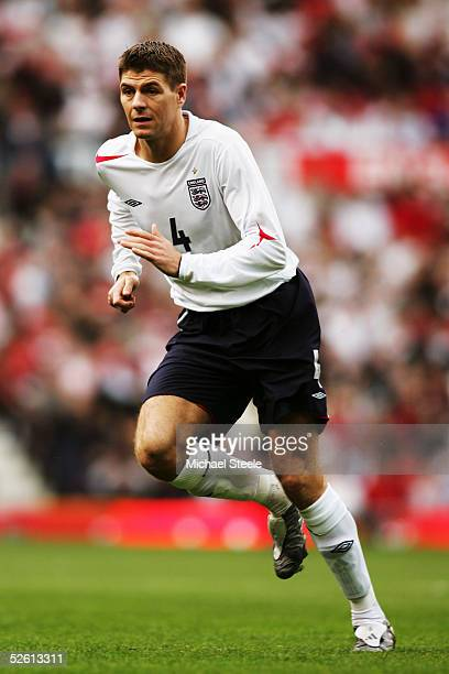 Steven Gerrard of England in action during the World Cup Qualifier Group 6 match between England and Northern Ireland at Old Trafford on March 26...