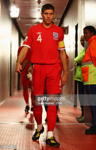 Steven Gerrard of England leads the team down the tunnel prior to the 2010 FIFA World Cup South Africa Group C match between Slovenia and England at...