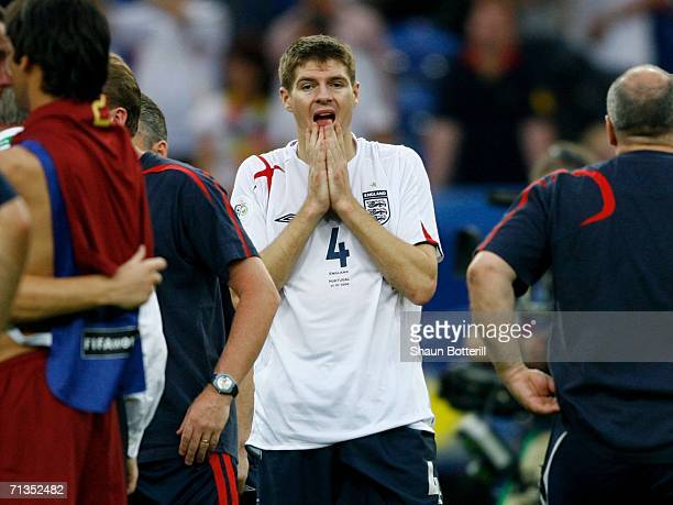 Steven Gerrard of England looks dejected following defeat during the FIFA World Cup Germany 2006 Quarterfinal match between England and Portugal...