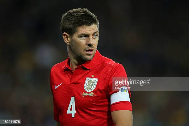 Steven Gerrard of England looks on during the FIFA 2014 World Cup Qualifying Group H match between Ukraine and England at the Olympic Stadium on...