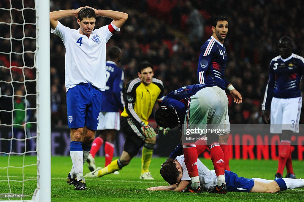 Steven Gerrard of England reacts following a missed chance during the international friendly match between England and France at Wembley Stadium on November 17, 2010 in London, England.