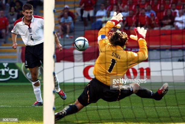 Steven Gerrard of England scores the third goal during the UEFA Euro 2004 Group B match between England and Switzerland at the Estadio Cidade de...
