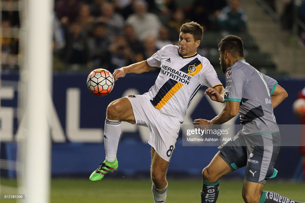 Steven Gerrard of LA Galaxy during the CONCACAF Champions League match between LA Galaxy and Santos Laguna at StubHub Center on February 24, 2016 in Carson, California.