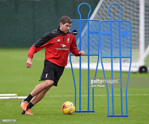 Steven Gerrard of LA Galaxy in action during a training session at Melwood Training Ground on November 30 2015 in Liverpool England