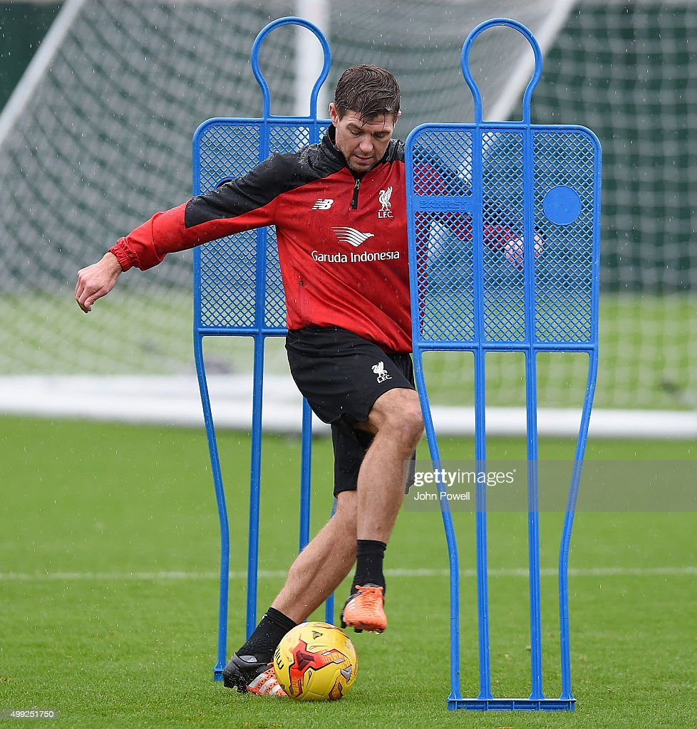Steven Gerrard of LA Galaxy in action during a training session at Melwood Training Ground on November 30, 2015 in Liverpool, England.