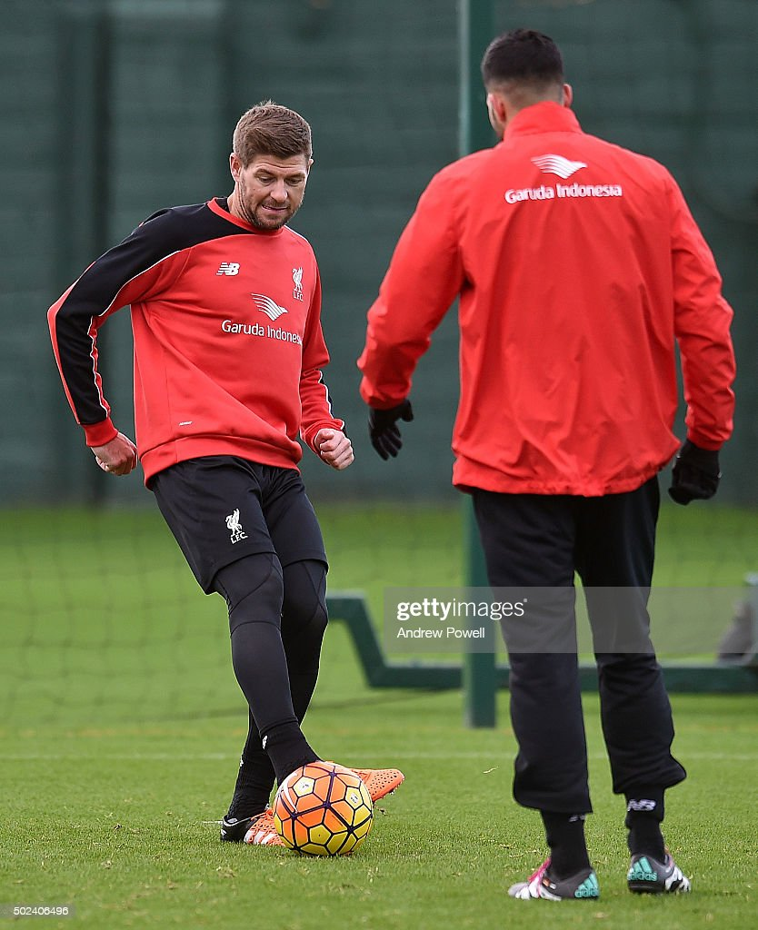 Steven Gerrard of LA Galaxy in action during a training session at Melwood Training Ground on December 24, 2015 in Liverpool, England.