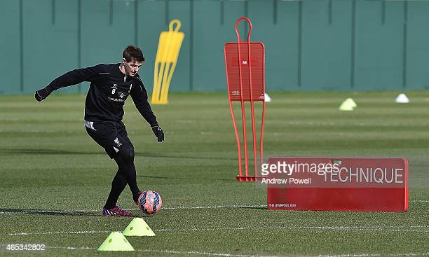 Steven Gerrard of Liveprool in action during a training session at Melwood Training Ground on March 6, 2015 in Liverpool, England.