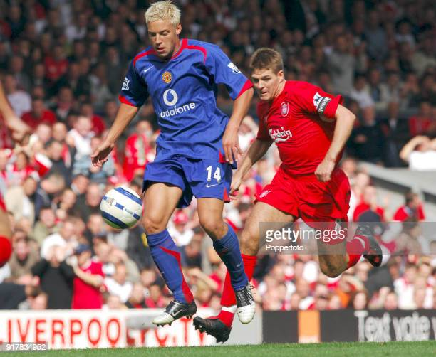 Steven Gerrard of Liverpool and Alan Smith of Manchester United in action during the Barclays Premiership match between Liverpool and Manchester...