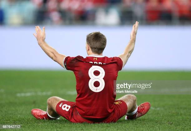 Steven Gerrard of Liverpool appeals for a penalty during the International Friendly match between Sydney FC and Liverpool FC at ANZ Stadium on May 24...