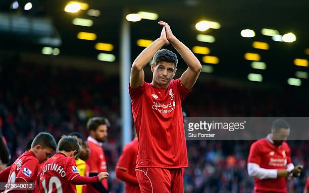 Steven Gerrard of Liverpool applauds the Kop end after he Barclays Premier League match betrween Liverpool and Crystal Palace at Anfield on May 16,...