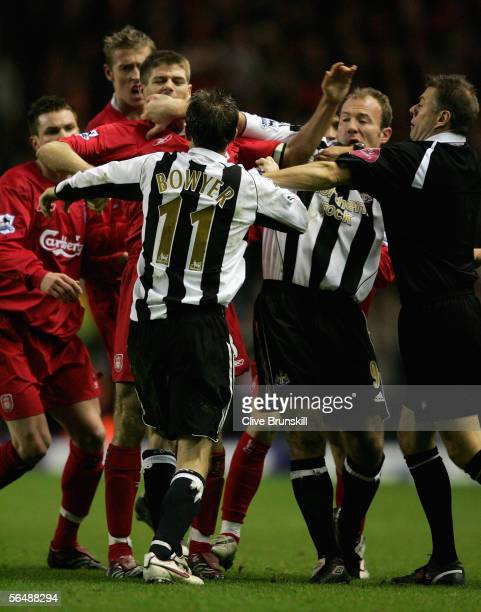 Steven Gerrard of Liverpool argues with Lee Bowyer and Alan Shearer of Newcastle United during the Barclays Premiership match between Liverpool and...