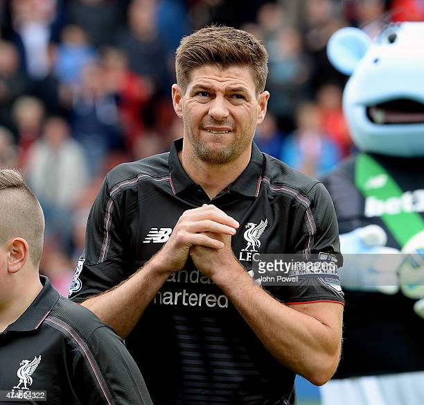 Steven Gerrard of Liverpool at the start of the Barclays Premier League match between Stoke City and Liverpool at the Britannia Stadium on May 24...