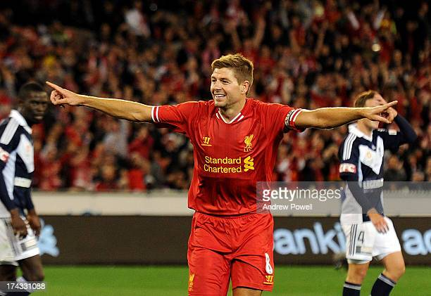 Steven Gerrard of Liverpool celebates after scoring the opening goal during the Pre Season match between Melbourne Victory and Liverpool at Melbourne...
