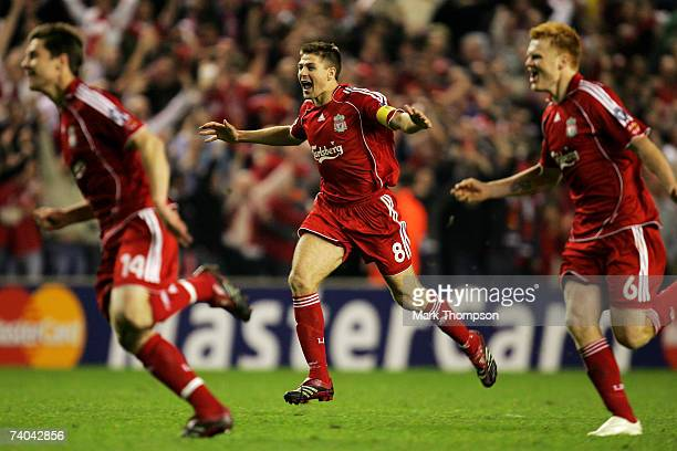 Steven Gerrard of Liverpool celebrates after his team won the UEFA Champions League semi final second leg match between Liverpool and Chelsea at...