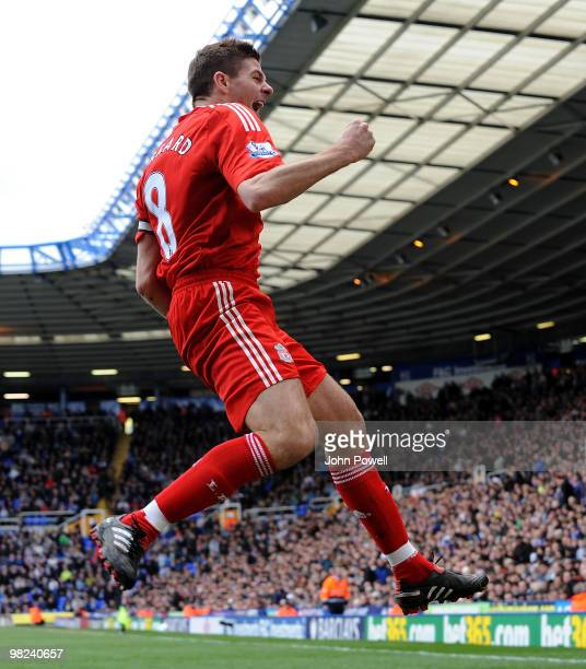 Steven Gerrard of Liverpool celebrates after scoring a goal during the Barclays Premier League match between Birmingham City and Liverpool at St...