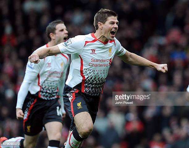 Steven Gerrard of Liverpool celebrates after scoring from the penalty spot for the second time during the Barclays Premier Leauge match between...