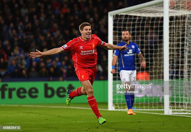 Steven Gerrard of Liverpool celebrates after scoring his team's second goal during the Barclays Premier League match between Leicester City and...